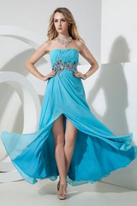 Aqua Strapless Cocktail Dresses Floor-length Chiffon with Sequins