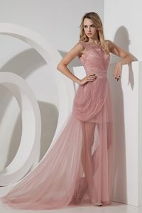 Tulle Homecoming Cocktail Dresses Light Pink with Brush Train