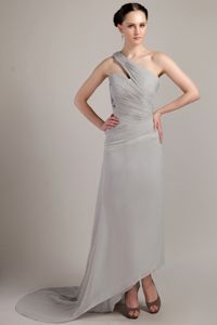 Grey One Shoulder Chiffon Ruched Dresses For Cocktails In Nj