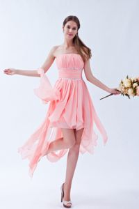 Watermelon Strapless Cocktail Girl Dresses Chiffon with Beading