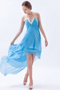 V-neck Prom Cocktail Dresses High-low Beading Baby Blue