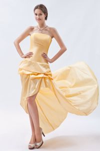 Champagne Strapless Cocktail Girl Dresses High-low Taffeta