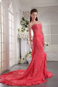 Coral Red Sweetheart Prom Cocktail Dresses with Court Train