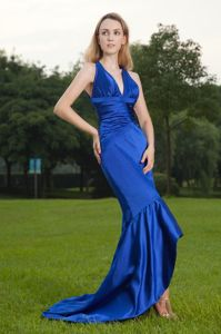 Royal Blue Mermaid V-neck Prom Cocktail Dresses in Chiffon