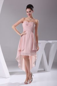 Sweetheart Ruched High-low Prom Cocktail Dresses in Pink