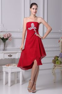 Strapless Red Homecoming Cocktail Dresses with White Appliques