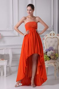 High Low Pleated Cocktail Girl Dresses with Beading Strapless