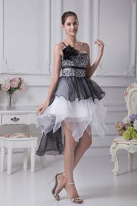 Black and White Prom Cocktail Dresses with Ruffles and Sequins