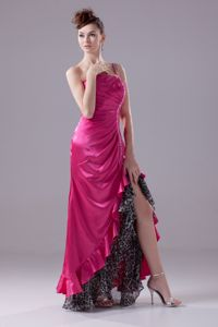 Pink One Shoulder High-low Cocktail Girl Dresses with Beading