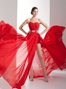 Red Sweetheart Chiffon Prom Cocktail Dresses with Beading