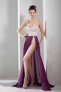 Sweetheart long Semi-Formal Dress in Purple with High Low