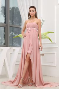 Ruched High-low Strapless Semi-Formal Dress with Brush Train