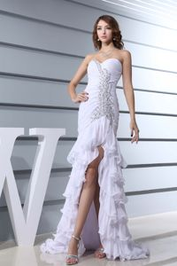 White Sweetheart Mermaid Prom Cocktail Dress with Beading