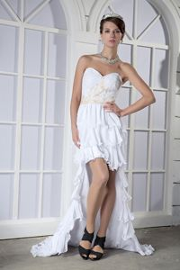 White High Low Cocktail Dress For Homecoming with Appliques