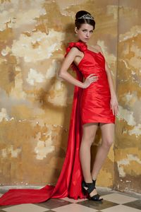 One Shoulder Red Prom Cocktail Dress with Watteau Train