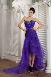 Purple Mermaid Sweetheart High-low Cocktails Dress Beading