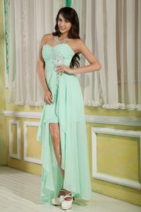 Sweetheart High-low Apple Green Cocktails Dresses Chiffon