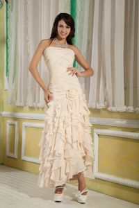 Champagne Strapless Cocktails Dresses Chiffon with Ruffles