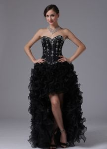 High-low Beaded Prom Cocktail Dress Black with Ruffles