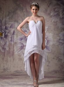 White V-neck High-low Chiffon Cocktail Dress with Beading