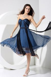 Pleated Sweetheart Tea-length Cocktail Dresses in Black and Blue