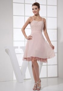 Straps Knee-length Beaded Light Pink Cocktail Dresses For Prom