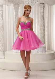 Sweetheart Mini-length Ruched Hot Pink Cocktail Dress For Prom