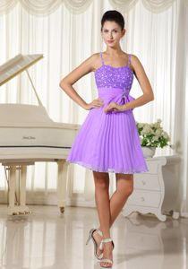 Spaghetti Straps Short Ruched Lavender Cocktail Dress For Prom