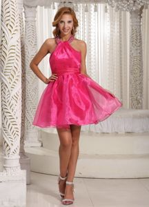 Hot Sale Halter Mini-length Beaded Cocktail Dresses in Hot Pink