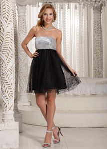 New Strapless Short Black and Silver Cocktail Dresses with Sequins