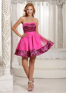 Sweetheart Short Zebra Cocktail Dresses in Hot Pink for Wholesale
