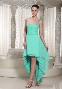 Spaghetti Straps High-low Cocktail Dress in Turquoise with Beading