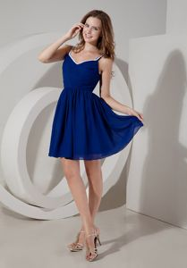 Spaghetti Straps Short Ruched Cocktail Reception Dresses in Blue