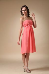 New Strapless Knee-length Ruched Watermelon Cocktail Dresses