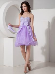 Sweetheart Short Beaded Cocktail Dresses in Lilac with Bowknot