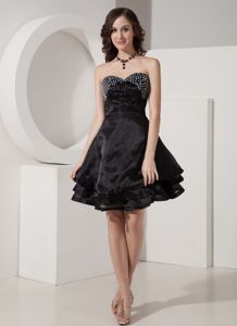 Sweetheart Short Beaded Black Wedding Cocktail Party Dresses