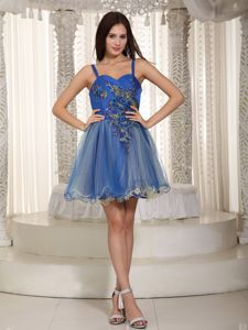 Straps Mini-length Cocktail Dresses in Blue Organza with Beading