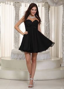 Sexy Sweetheart Short Beaded Evening Cocktail Dresses in Black