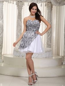 Sweetheart Short Zebra Ruched Cocktail Party Dresses in White