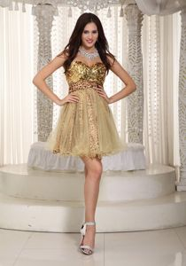 New Sweetheart Short Champagne Cocktail Dresses with Sequins