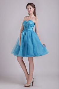 Sweetheart Short Teal Cocktail Dresses with Beading and Bow