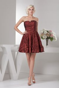 Unique Slot Neckline Short Evening Cocktail Dress in Burgundy