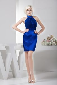 High-neck Short Ruched Royal Blue Cocktail Dress with Beading