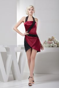 Unique Halter Ruched Short Cocktail Dress in Wine Red and Black