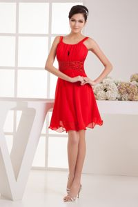 Hot Sale Straps Knee-length Ruched Cocktail Dresses with Beading