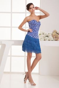 New Sweetheart Mini-length Blue Cocktail Dresses with Rhinestone
