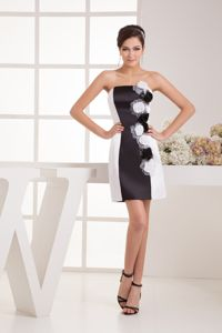 Sexy Strapless Short Black and White Cocktail Dress with Flowers