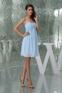 Sweetheart Knee-length Ruched Baby Blue Prom Cocktail Dress