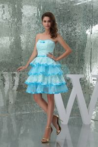 Strapless Ruffle-layers Aqua Blue Cocktail Dresses For Celebrity