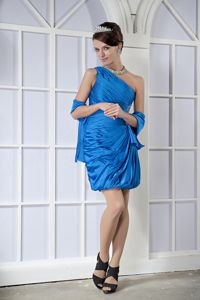 One Shoulder Short Sky Blue Cocktail Party Dresses with Beading
